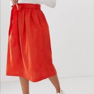 5/$25💋ASOS Petite Full Linen Midi Skirt